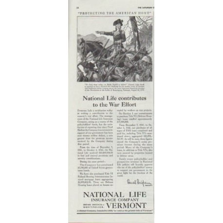 "1942 National Life Insurance Company Ad ""... contributes to the War Effort"""