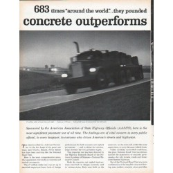 "1961 Portland Cement Association Ad ""concrete outperforms asphalt"""