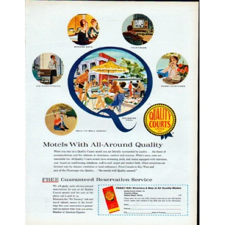 """1961 Quality Courts Motels Ad """"All-Around Quality"""""""