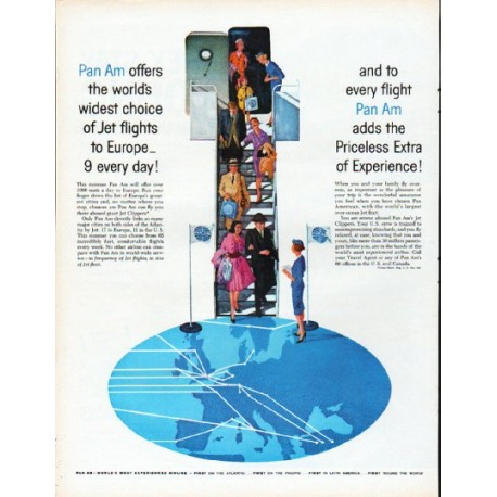 "1961 Pan Am Airlines Ad ""Jet flights to Europe"""