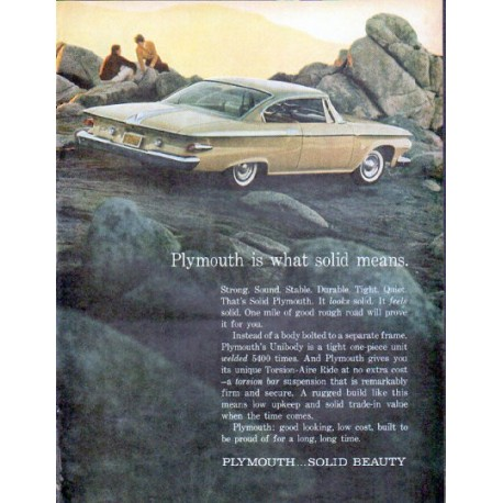 "1961 Plymouth Ad ""Plymouth is what solid means"""