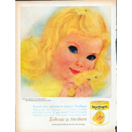 """1961 Northern Tissue Ad """"Softness grows"""""""