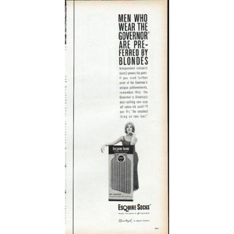 "1961 Esquire Socks Ad ""preferred by blondes"""