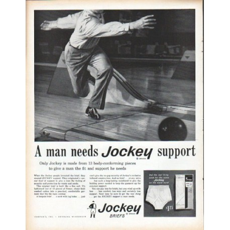 "1961 Jockey Briefs Ad ""A man needs Jockey support"""