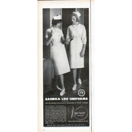 "1961 Sandra Lou Uniforms Ad ""Save washing time"""