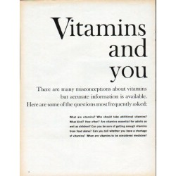 "1961 One-A-Day Vitamins Ad ""Vitamins and You"""