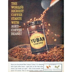 "1961 Yuban Coffee Ad ""Aged Coffee Beans"""