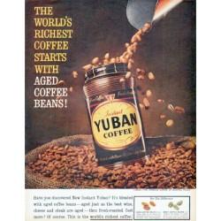 "1961 Yuban Coffee Ad ""Aged Coffee Beans"""
