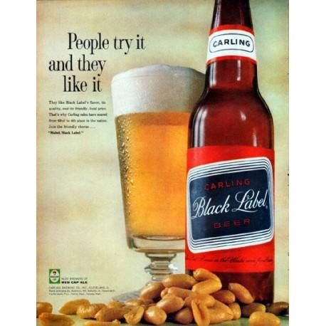 "1961 Carling Black Label Beer Ad ""People try it"""