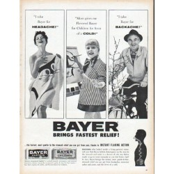 "1961 Bayer Aspirin Ad ""Brings Fastest Relief"""