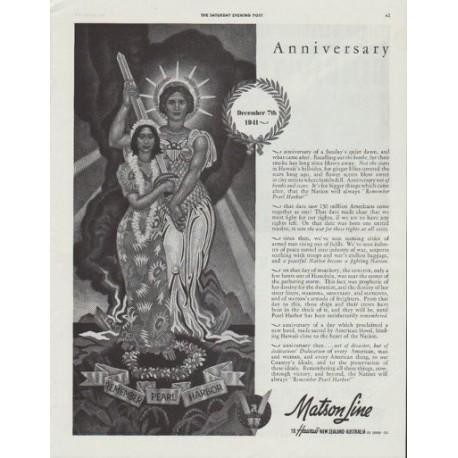 "1942 Matson Line Ad ""Anniversary ... Remember Pearl Harbor"""