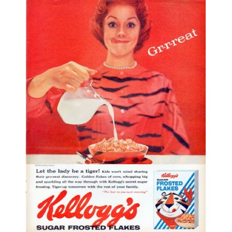"1961 Kellogg's Frosted Flakes Ad ""Let the lady be a tiger"""