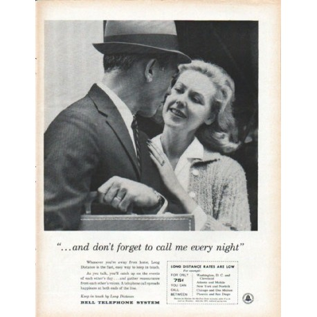 "1961 Bell Telephone System Ad ""call me every night"""