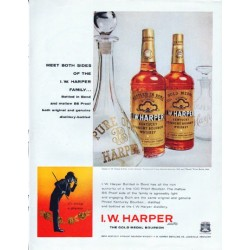 "1961 I.W. Harper Bourbon Ad ""Meet Both Sides"""