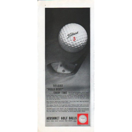 "1961 Acushnet Golf Balls Ad ""Feels Best"""
