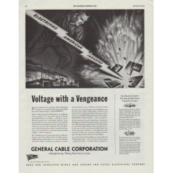 "1942 General Cable Corporation Ad ""Voltage with a Vengeance"""