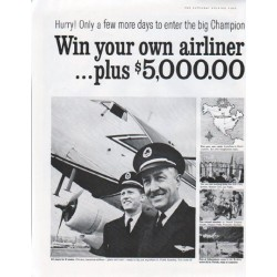 """1961 Champion Spark Plug Ad """"Win your own airliner"""""""