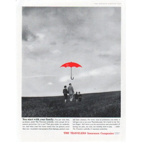 """1961 Travelers Insurance Ad """"You start with your family"""""""