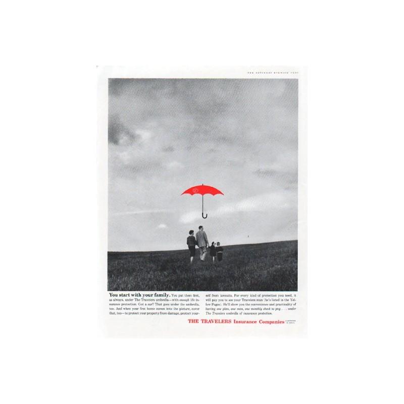 1961 Travelers Insurance Vintage Ad \