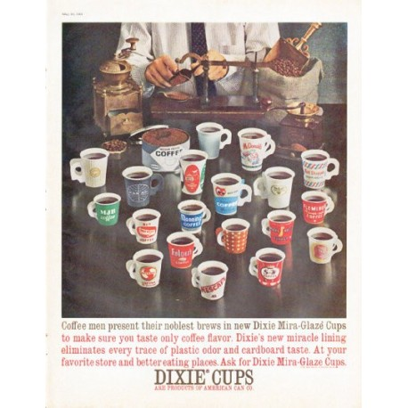 1961 dixie cups vintage ad coffee men