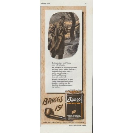 "1942 Briggs Pipe Mixture Ad ""Cask-Mellowed Extra Long for Extra Flavor"""