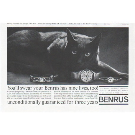 "1961 Benrus Watch Ad ""nine lives"""