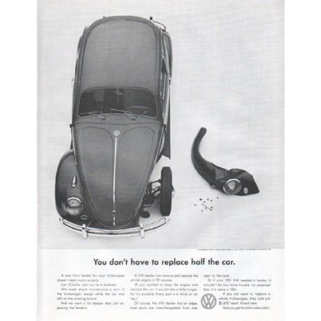 "1961 Volkswagen Ad ""half the car"""