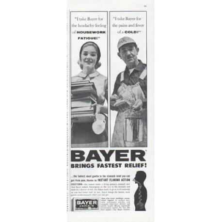 "1961 Bayer Aspirin Ad ""Housework Fatigue"""