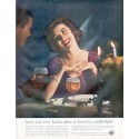 "1961 United States Brewers Association Ad ""beer by candlelight"""