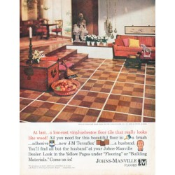 "1961 Johns-Manville Floors Ad ""low-cost vinyl-asbestos"""