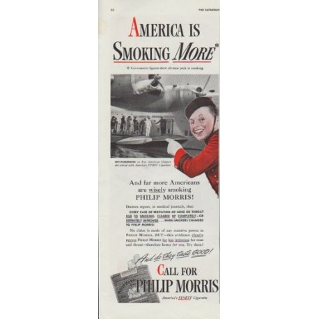 "1942 Philip Morris Ad ""America is smoking more"""