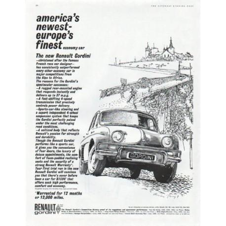 "1961 Renault Gordini Ad ""america's newest"""
