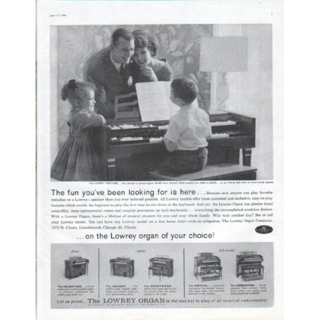 "1961 Lowrey Organ Ad ""The fun you've been looking for"""