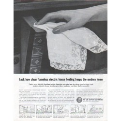 "1961 Edison Electric Institute Ad ""flameless electric house heating"""