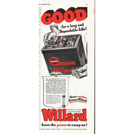 "1942 Willard Ad ""Good - for a long and Dependable Life!"""