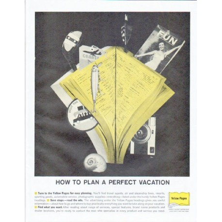 """1961 Yellow Pages Ad """"A Perfect Vacation"""""""