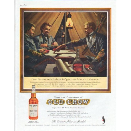 "1961 Old Crow Whiskey Ad ""Gen. Forrest"""