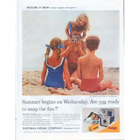 """1961 Kodak Ad """"Summer begins"""""""