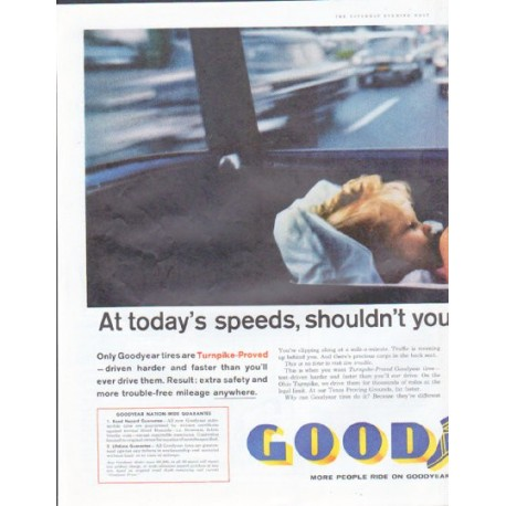 """1961 Goodyear Tires Ad """"At today's speeds"""""""
