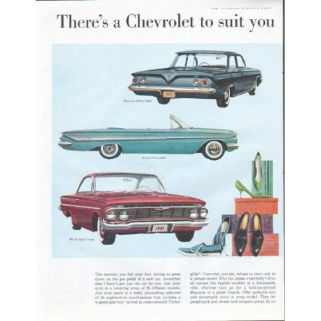 "1961 Chevrolet Ad ""right down to your shoes"""