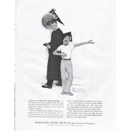 "1961 Massachusetts Mutual Life Insurance Ad ""high school days"""