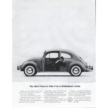 "1961 Volkswagen Ad ""shakedown cruise"""