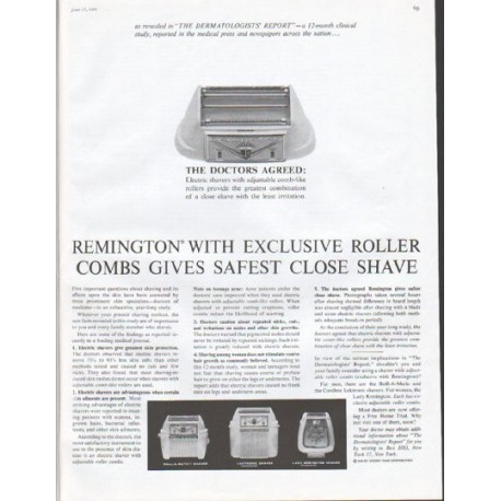 "1961 Remington Shaver Ad ""Roller Combs"""