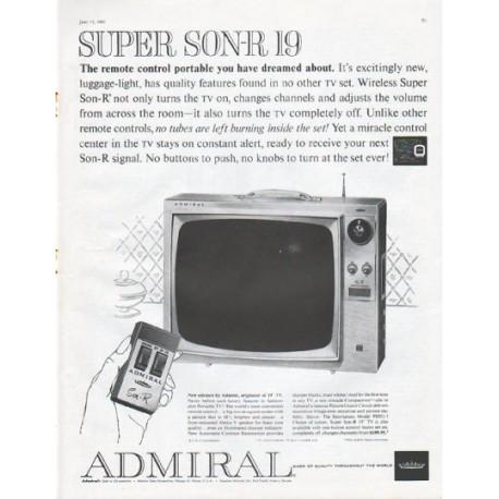 """1961 Admiral Television Ad """"Super Son-R 19"""""""