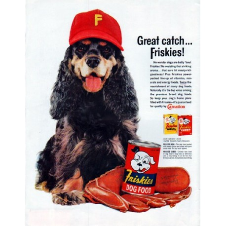 "1961 Friskies Dog Food Ad ""Great catch"""