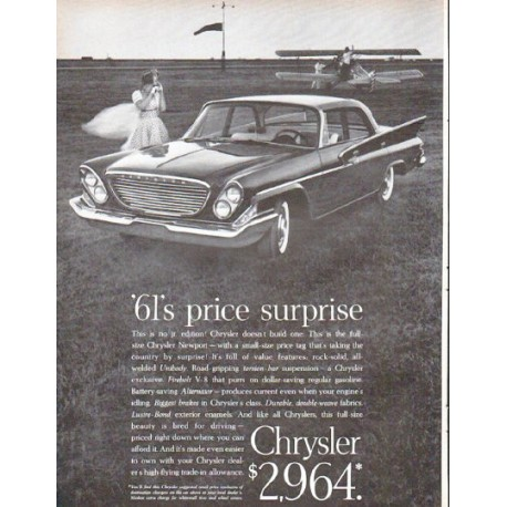 "1961 Chrysler Newport Ad ""price surprise"""