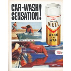 "1961 Simoniz Car Wax Ad ""Car-Wash Sensation"""