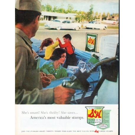 """1961 S. & H. Green Stamps Ad """"She's smart"""""""