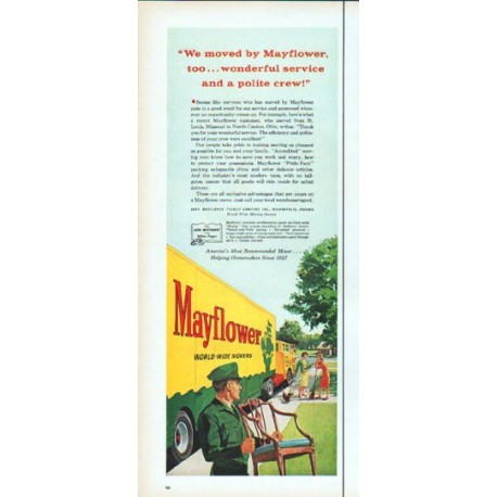 "1961 Mayflower Movers Ad ""wonderful service"""