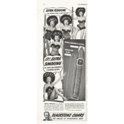 "1942 Blackstone Cigars Ad ""Extra Pleasure in every size and shape!"""